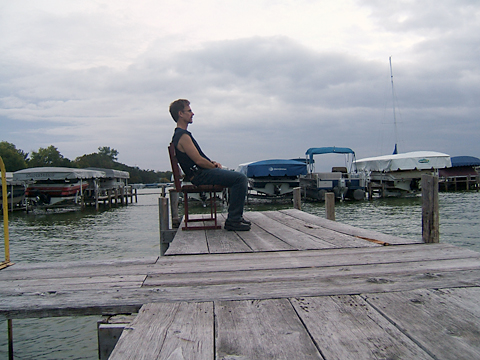 Sitting on the dock at Clear Lake